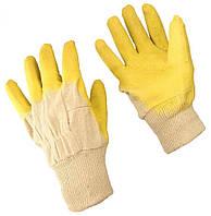 Перчатки х/б с латексным покрытием (желтые) (ящ.120/уп.12) (стекло)