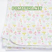 Белая детская фланелевая пелёнка 120х75 см (фланель, байковая, байка) теплая для пеленания 3307 Зеленый