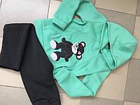 """Теплый детский спортивный костюм для девочки """"Мишка"""" с капюшоном и аппликацией (3 цвета)"""