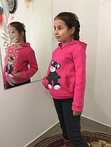 """Теплый детский спортивный костюм для девочки """"Мишка"""" с капюшоном и аппликацией (3 цвета), фото 3"""