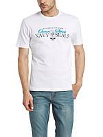 Мужская футболка LC Waikiki белого цвета с надписью Navy seals