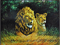 Набор для вышивки картины Львиная пара 77х61см