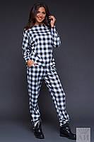 Модное  черно-белый  трикотажный спортивный костюм в клеточку. Арт-9522/17