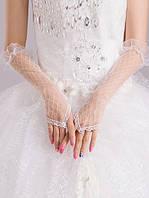 Белые высокие перчатки до локтя