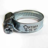 Хомут червячный оцинкованный Optima 10-16