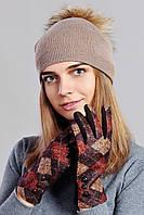 Красивые женские трикотажные перчатки