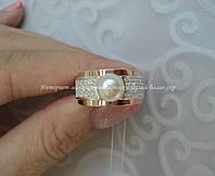 Серебряное кольцо с накладками золота и жемчугом