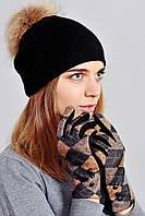 Тепленькие женские трикотажные перчатки