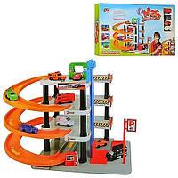 Гараж JT 0849, мегапарковка с мойкой и 4 машинками, 4 яруса, в коробке, отличный подарок мальчишке для игр