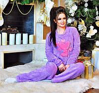 """Женский стильный махровый костюм-пижама 915 """"Сердца"""""""