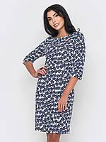 Стильное изысканное женское платье из французского трикотажа с цветочным принтом и рукавами¾ 90202/1