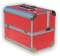 Чемодан металлический раздвижной с стразами красный 2629 YRE