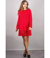 Молодежное стильное красное платье р 44-50