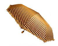 Зонт с рюшами Горошек антишторм кофейный