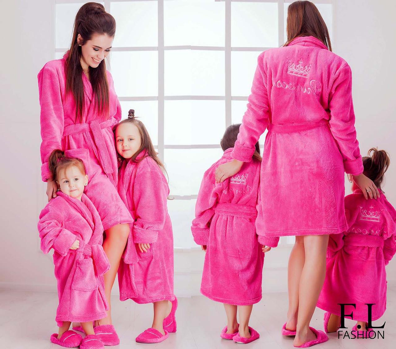 """Женский домашний махровый халат с вышивкой 071-2 """"Princess"""""""