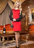 Нежное Вечернее Платье Красное с Шифоновыми Рукавами M-2XL