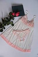 Комплект еротичний Жіночий ELLEN Сорочка+Трусики Ніжно-Рожеве Мереживо