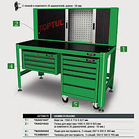 ✅ Панель к верстаку (20 крючков) TOPTUL TAAH1606