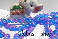 "Бусина "" Битое стекло"", 6 мм розово-голубой  цвет"