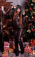 """Женский зимний костюм """"Luxury"""" - тройка на синтепоне большого размера 44 -74р  коричневый"""