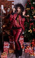 "Женский зимний костюм ""Luxury"" - тройка на синтепоне большого размера 44 - 74р  бордо"