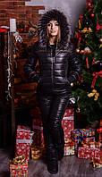 """Женский зимний костюм """"Luxury"""" - тройка на синтепоне большого размера 44 - 74р черный"""