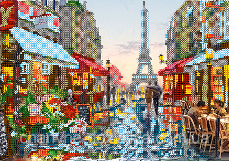 """Схема для вышивки бисером на атласе (пейзаж) """"Париж после дождя"""""""