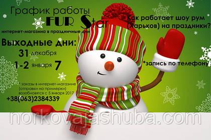 График работы магазина FUR STAR в новогодние праздники