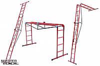 Лестница трансформер металлическая 4 х 4 ступени, 1310-2200-4800 мм Mastertool 79-1024