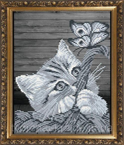 Авторская канва для вышивки бисером «Котенок в корзине»
