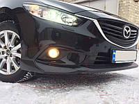 Накладки на передний бампер клыки Mazda 6 2013+  Мазда 6