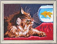 Набор для вышивки бисером Котенок и золотая рыбка 604