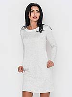 Молодежное женское платье на флисе из трехнитки без застежек с карманами, длинный рукав 90217