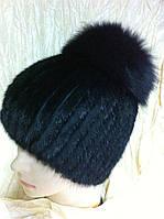 Норковая шапка на вязанной  основе с верхом из меха песца