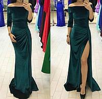 Длинное платье бархатное с разрезом 09706