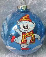"Елочная игрушка шар 65 мм ""Медвежонок на коньках"""