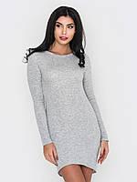 Облегающее женское платье на флисе из трехнитки без застежек 90218