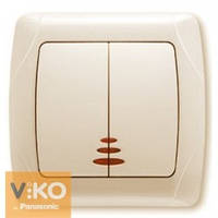 Выключатель двойной с подсветкой крем Viko (Вико) Carmen (90562050)
