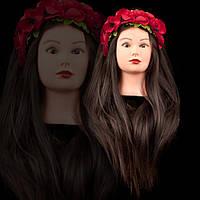 Учебная голова манекен для причесок и плетения, 75-80 см, темный шатен