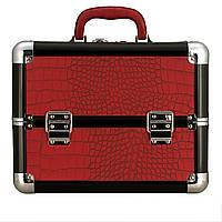 Эксклюзивный алюминиевый кейс для косметики с выдвижными полками, цвет - бардовый, матовая кожа крокодила, фото 1