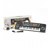Детский синтезатор с микрофоном MQ-803 USB: 37 клавиш, USB порт, питание сеть/батарейки, 55х17х6 см