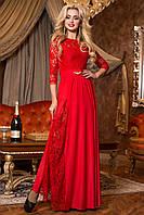 Сногсшибательное Длинное Платье с Красивым Кружевом Красное M-2XL