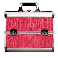 Алюминиевый кейс для косметики, цвет- розовый, лаковый
