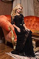 Сногсшибательное Длинное Платье с Красивым Кружевом Черное M-2XL