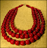 Намисто потрійне червоного (вишневого) кольору, буси виготовлені з дерева