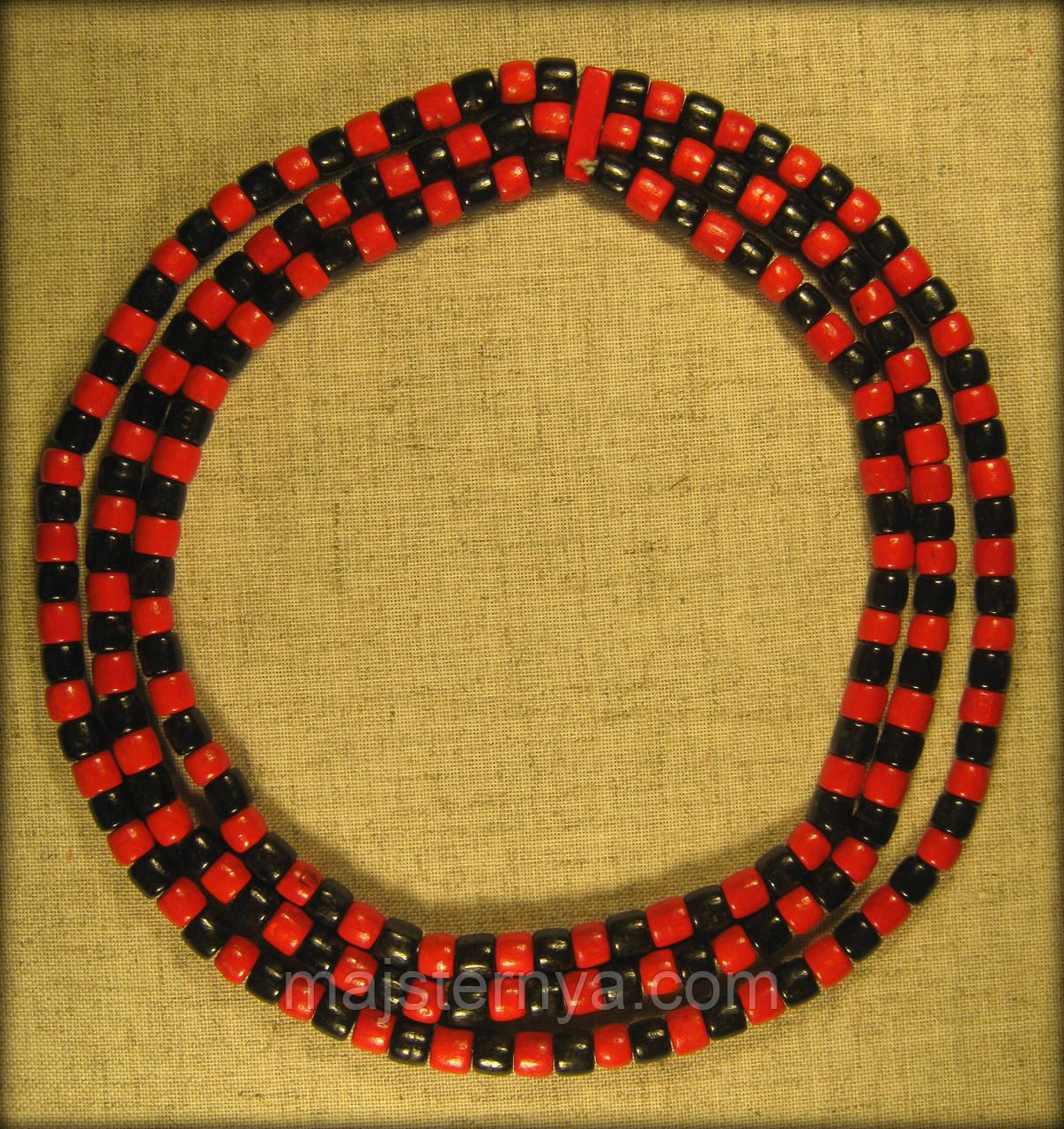 Буси тройні червоно-чорні, намисто виготовлене з дерева
