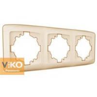 Рамка трехместная горизонтальна крем Viko (Вико) Carmen (90572103)