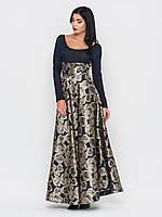 """Элегантное вечернее длинное платье из """"Парчи"""" золотого цвета  90220"""