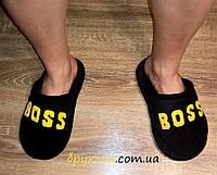 Мужские тапочки Boss Босс / домашние мужские черные тапочки, флисовые (есть разные цвета)