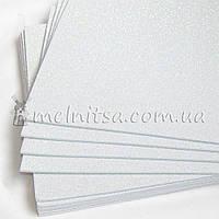 Фоамиран с глиттером, 20х30 см, белый